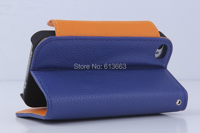 Wholesale PU Leather Wallet Card Flip Case Cover + Strap Fit For iPhone 4/4s,free shipping