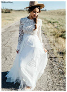 Robe-De-Mariee Bridal-Dress Long-Sleeve Boho Vintage Simple New Lace Puffy Tulle