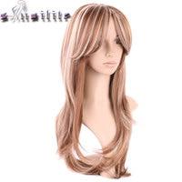 S-noilite 100% Réel Épais 260g 180% Densité Aucun Lace Front perruques de Cheveux Synthétiques Résistant À La Chaleur Fiber De Deux Tons Perruque Brun Blonde