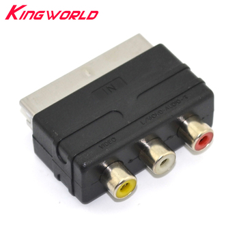 100pcs High quality Scart Male Plug to 3RCA Phono Female AV TV Audio Video Adapter Input for PS4 for WII DVD VCR