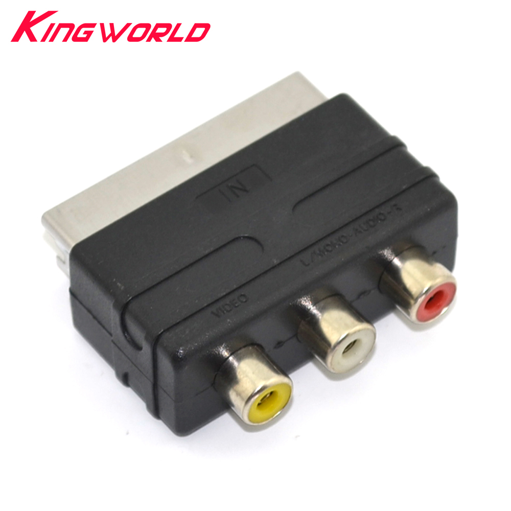 10pcs High quality Scart Male Plug to 3RCA Phono Female AV TV Audio Video Adapter Input for PS4 for WII DVD VCR