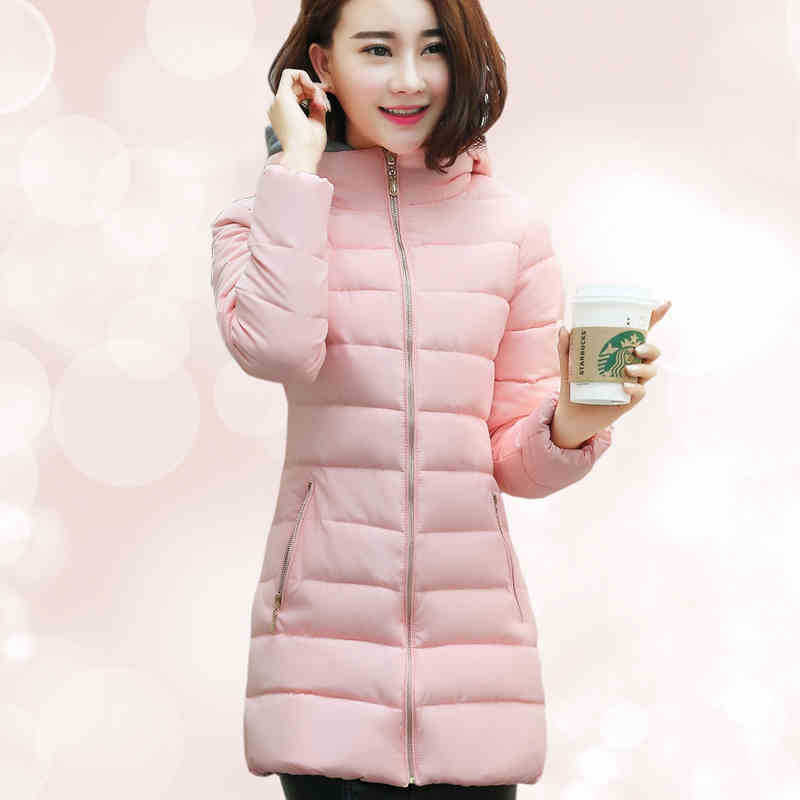 Five Colors Padded Jacket Women Autumn And Winter New Slim Fashion Thick Hooded Warm Solid Color Long Section Cotton Coat C558 купить