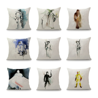 Star Wars Cartoon Print   Cushion     Cover   For Sofa Home Decor Watercolor Decorative Pillows   Covers   Linen Throw Pillowcase 45x45cm