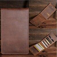 Crazy Horse Genuine Leather Vintage Business ID Card Credit Card Holder Case Slot Organizer Men S