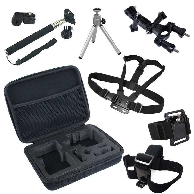 Go Pro Accessories Set For GoPro Hero 4 Session 2 3 3+ Sjcam SJ4000 for xiaomi yi action cam with Collection Bag Case
