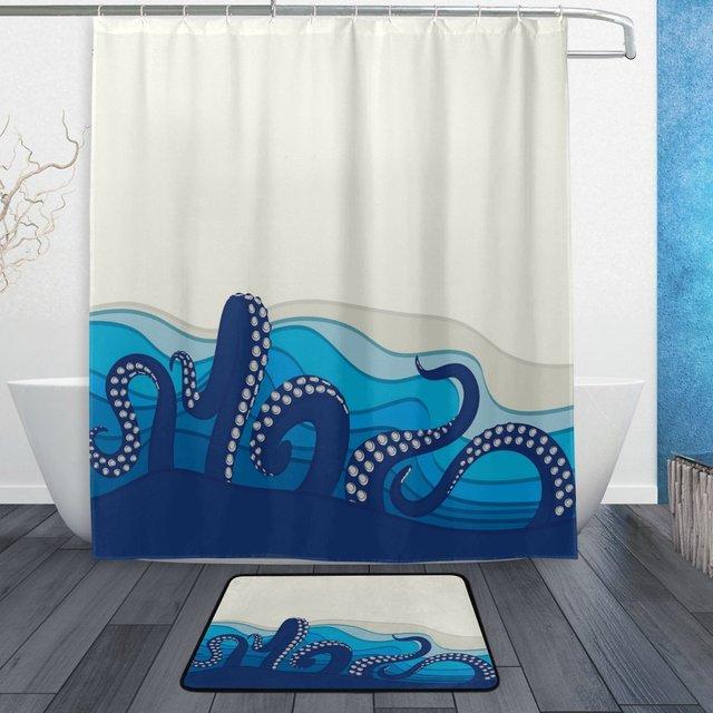 Ocean Kraken Shower Curtain And Mat Set Sea Octopus Waterproof Fabric Bathroom