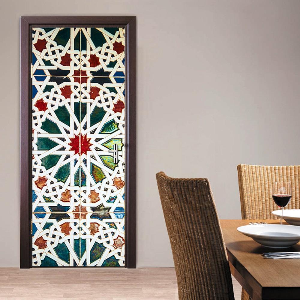 77x200cm kaleidoscope glass door sticker bathroom door for Adhesive decoration