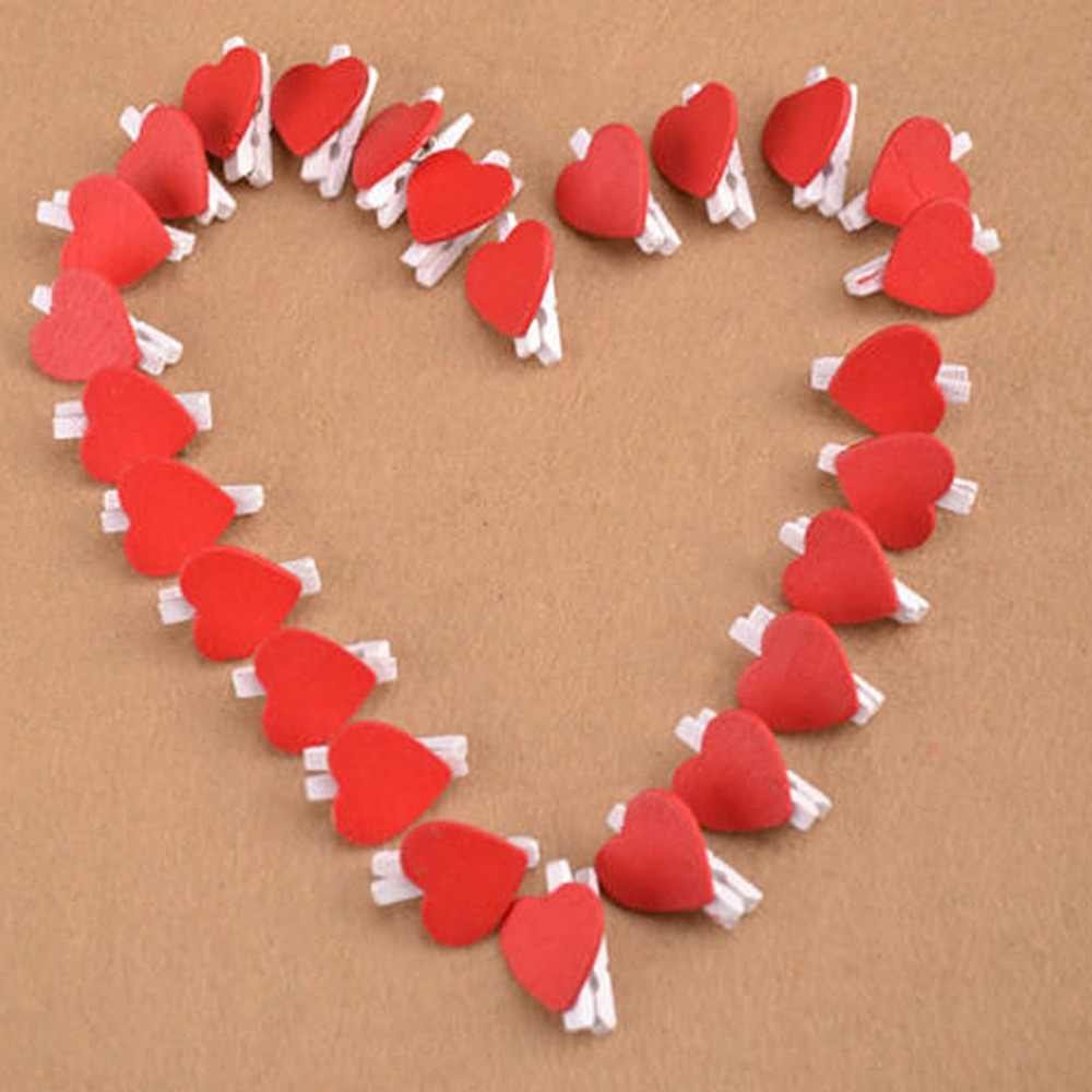100 Pcs/Pack Mini Hati Cinta Pakaian Wooden Photo Paper Peg Pin Clothespin Craft Kartu Pos Klip Rumah pernikahan Dekorasi