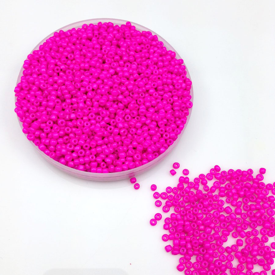 16g 1000X 2mm 12/0 Rose Pink Neon Color Opaque Round Loose Spacer Beads Cezch Glass Seed Beads Handmade Jewelry DIY Garment Bead