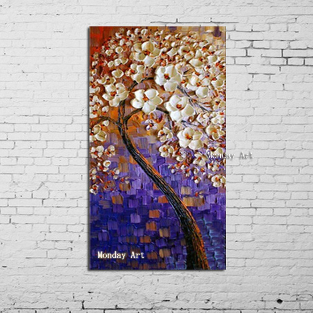 Artist High Quality Handmade Abstract Flower Canvas Oil Painting on Beautiful knife Colors Purple