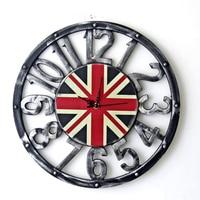 40CM Iron Retro Nostalgia Wall Clocks UK National Flag Hollow Out Digital Mute Clock Living Room