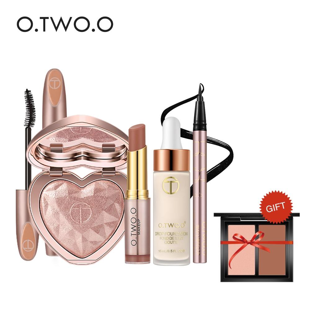 O.TWO.O Makeup Set, 6Pcs/Set, Black Mascara, Highlighter, Matte Lipstick, Foundation Makeup,Eyeliner,Bronzers Highlighter Kit