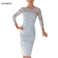 Sheath Knee Length Mother Of The Bride Dresses 2018 Spring Summer Silver Grey Lace Women Party Gowns 3/4 Sleeves Gowns CM098