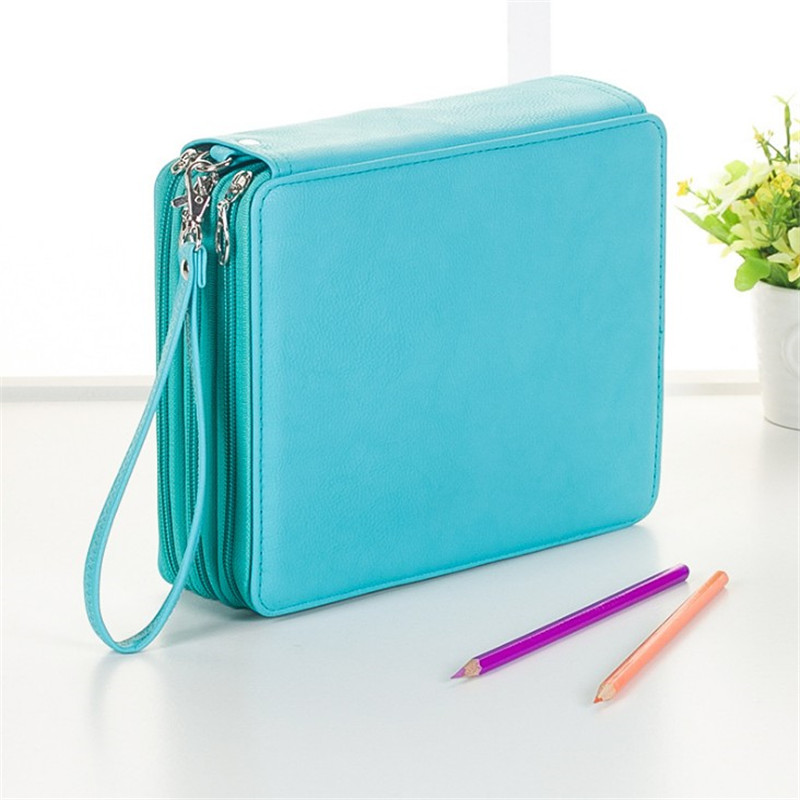 124 Holder 4 Layer Portable PU Leather Pencils Case School Stationery Large Capacity Colored Pencil Bag For Student Art Supplies 120 holder 4 layer portable pu leather school pencils case large capacity pencil bag for colored pencils watercolor art supplies