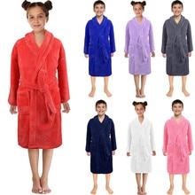 MUQGEW банный халат для детей, одноцветные фланелевые банные халаты для маленьких мальчиков и девочек, ночная Пижама, одежда для сна, badjas kinderen# y2