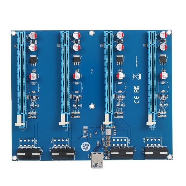 PCI-E 1 a 4 Slots PCI Express 16X Riser Cartão de Mineração módulos de Porta PCI-e 1X a 4 Slots PCIe Pcie Adaptador Externo multiplicador