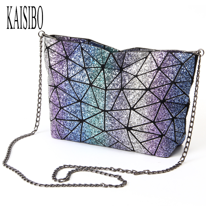 KAISIBO Starry Sky New Evening Bag Women Chain Bag Lightning Geometric Women Shoulder Bags Folding Messenger Bags Bolsas kiind of new blue women s xl geometric printed sheer cropped blouse $49 016
