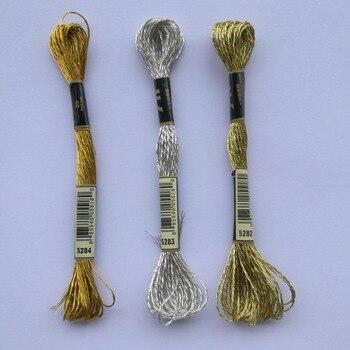Oneroom 1 Uds 5283 plata 5282 oro claro 5284 Hilo Metálico de oro para punto de cruz del mismo color que el bordado de hilo DMC