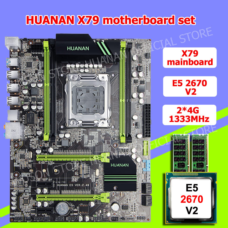 HOT!!HUANAN <font><b>V2</b></font>.49 X79 motherboard CPU RAM combos <font><b>Xeon</b></font> <font><b>E5</b></font> <font><b>2670</b></font> <font><b>V2</b></font> CPU (2*4G)8G DDR3 RECC memorry all good tested 2 years warranty image
