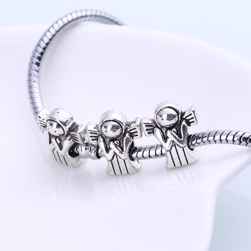 Antique Silver Metal Angel Beads Fit Pandora Charms DIY Zinc Alloy European Angel Spacer Beads for Jewelry Making 30pcs BC1031
