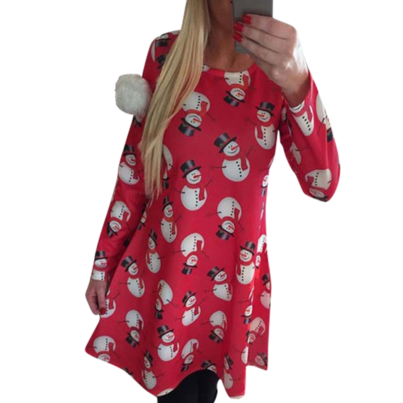 Woman Dresses Snowman Snowflake Printed Long Sleeve Dresses s