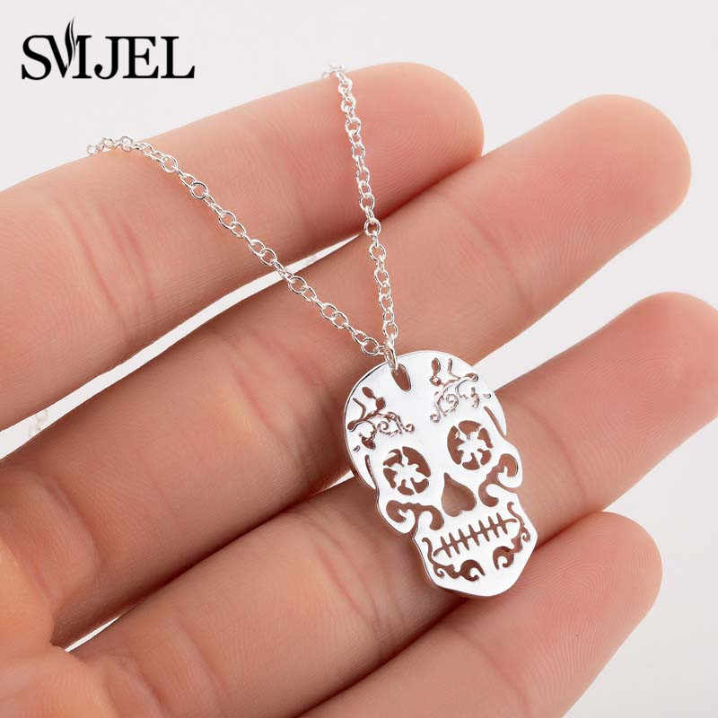 SMJEL Punk Skull Necklaces Men Women Day Of The Dead Skeleton Pendant Necklace Charm Mexican Sugar Skull Jewelry Gifts