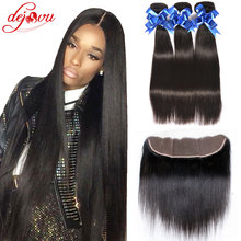 Unice Hair With Closure Grace Hair Brazilian Straight With Closure 3 Bundles 13X4 Ear To Ear Silk Frontal Closure With Bundles