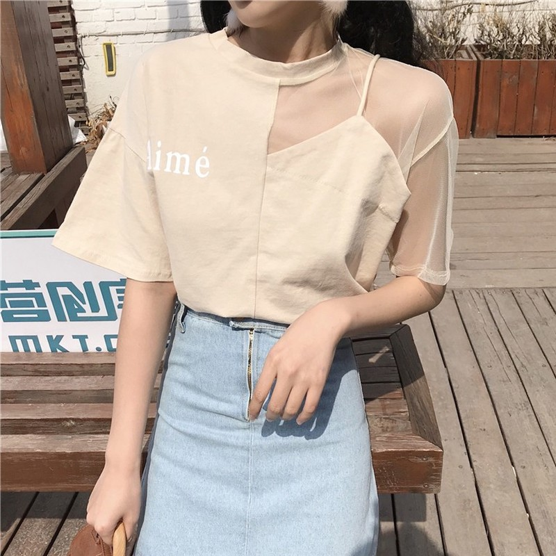11ae00a69a1 Fashion Off Shoulder Short-sleeved T-shirts Woman Korean Style Sexy Letter  Tees Office