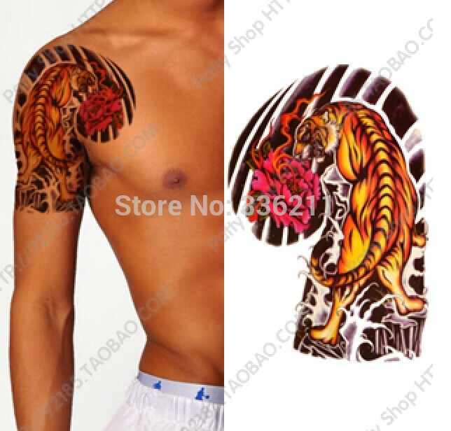 3pcs 2018 big large tiger peony designs temporary tattoo for How to get fake tattoos off