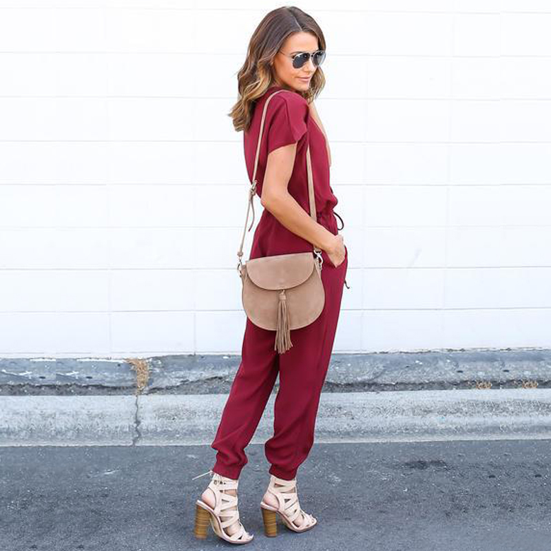 Plus Size Jumpsuits For Short Rompers Womens Jumpsuit Deep V Summer Casual Full Length Loose Chiffon Lace Up Bodysuit Playsuit