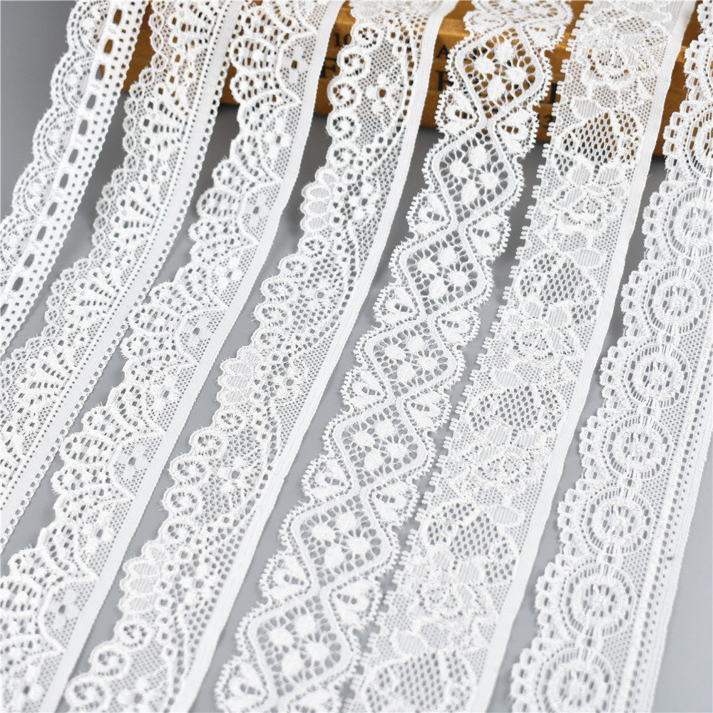 HTB1R8h1aXqZBuNjt jqq6ymzpXai 5Yard/Lot High Quality White Elastic Lace Ribbon Trims Underwear Lace Trim Embroidered For Sewing Decoration african lace fabric