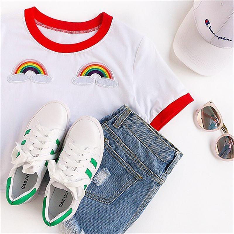 HTB1R8h8RVXXXXckXVXXq6xXFXXXY - Rainbow Patch Embroidered Crop Tees Summer PTC 128