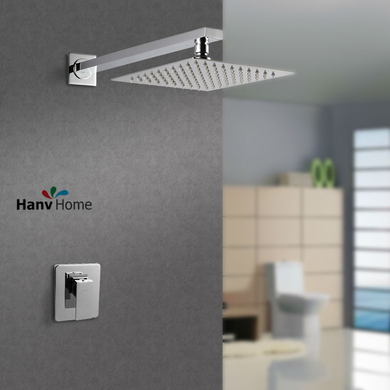 304# Stainless Steel  8 inch Ultrathin Rainfall Shower Head Set   Bathroom Shower Set   mixer Valve Showrer Arm