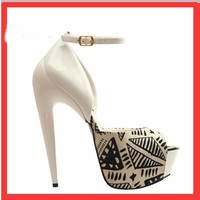 Strang Snake Open Toe Black White Women Sandals Shoes Luxury Buckle Big Size 12 Beat Quality