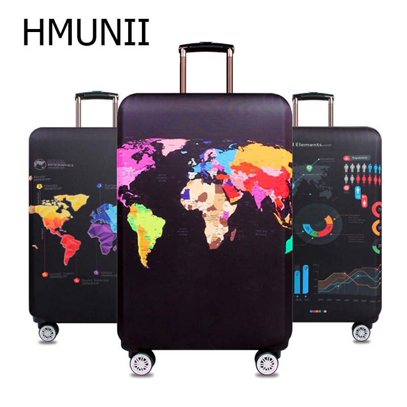 HMUNII Baggage-Bag-Cover Suitcase Protective-Cover Trolley Travel-Luggage World-Map Women's