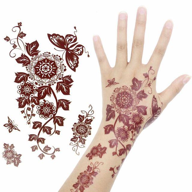 Where To Get Temporary Henna Tattoos Near Me: 4pcs/lot Brown Black Waterproof Temporary Tattoo Sticker
