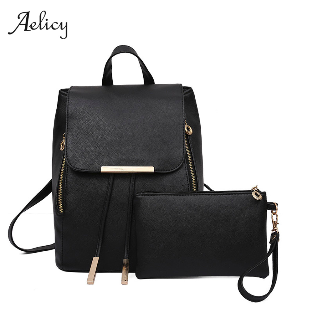 Aelicy 3 Colors 2Pcs/Set Luxury New Women Fashion Backpack With Purse Bag PU Leather Backpack Women School Bags For Girls 0927 2018 new casual girls backpack pu leather 8 colors fashion women backpack school travel bag with bear doll for teenagers girls page 5
