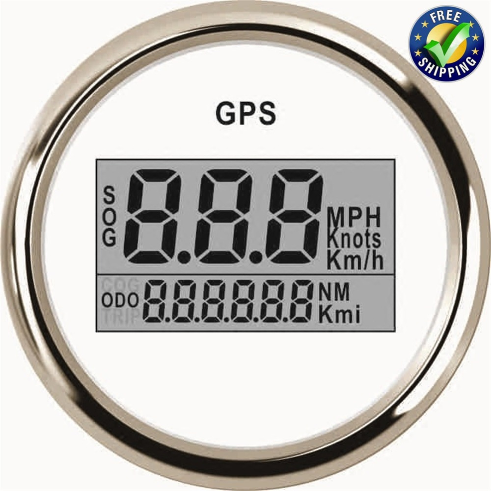 52mm Digital GPS Speedometers SOG ODO Speed Mileometers 0-999 Waterproof Speed Gauges 9-32v with Red Backlight White недорго, оригинальная цена