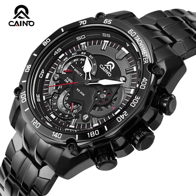 CAINO Men's Fashion Business Sports Watches Top Brand Luxury Quartz Wrist Watch Men 316L Stainless Steel Clock Relogio Masculino