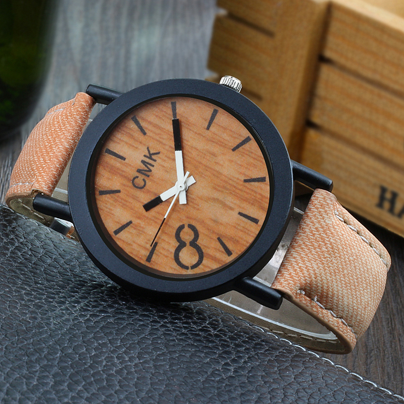 Fashion Luxury Imitation Wood Grain Watch Men Women Simple