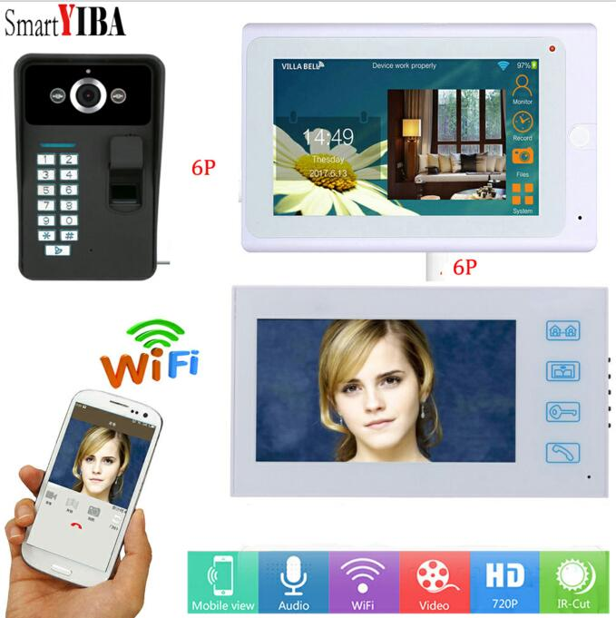 SmartYIBA WIFI APP Fingerprint Doorphone ID cards Password Unlock Max Support 64GB TF Card Doorbell 1000TVL Video Intercom
