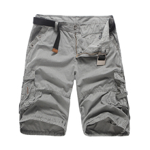 2018 Mens Shorts Casual New Brand Male Solid Color Stripe Cargo Men Cotton Fashion Short Summer 4 Colors