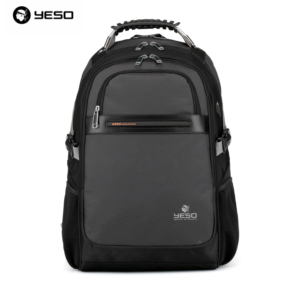 YESO Famous Brand Men Business Waterproof Oxford and PU Laptop Backpack High Quality Casual College Campus Boys Backpacks 2017 fashion women waterproof oxford backpack famous designers brand shoulder bag leisure backpack for girl and college student