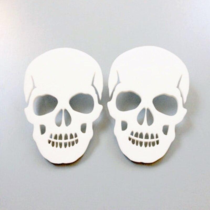 Doreen Box Women Fashion Club Skeleton Stud Earrings Ear Post White Skull Head Girls Trend Earrings Jewelry For Women, 1 Pair