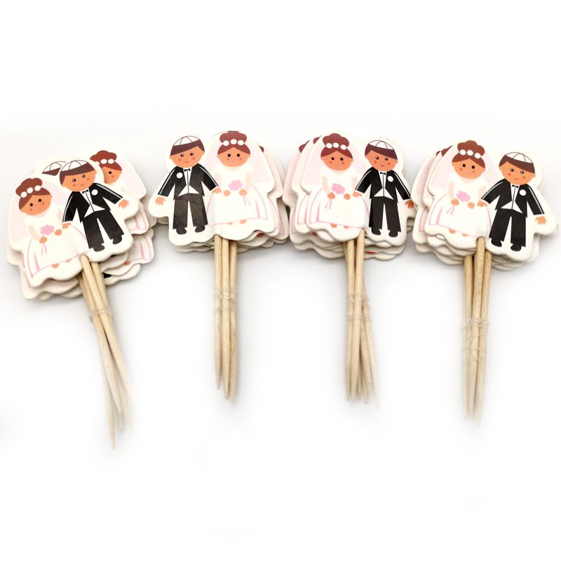 24pcs/lot Decoration Engagement Wedding Party Cake Topper Groom And Bride Favors Theme Cupcake Toppers With Sticks