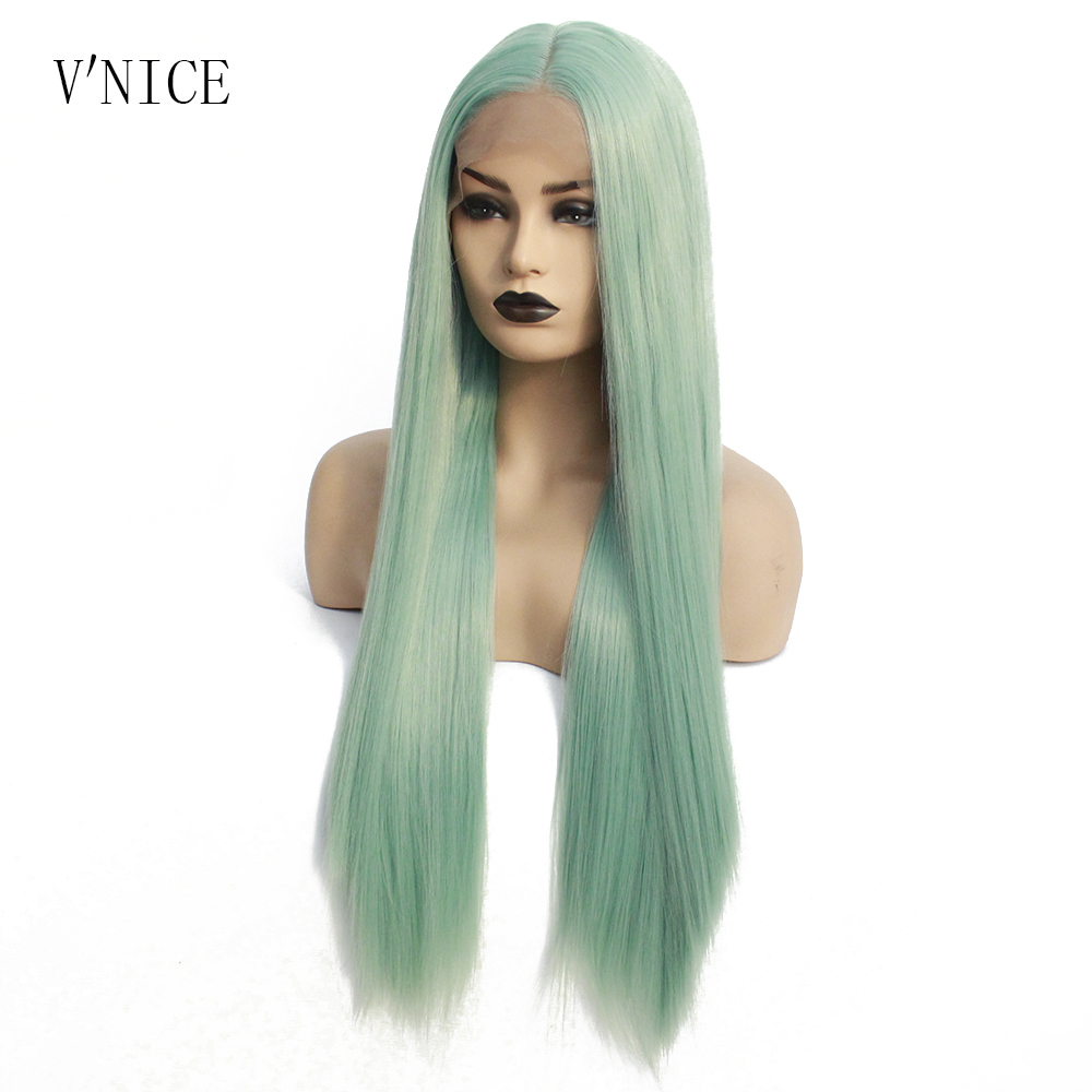 V NICE Long Straight Realistic Looking Mint Green Wig Hair Heat Resistant Fiber Synthetic Lace Front