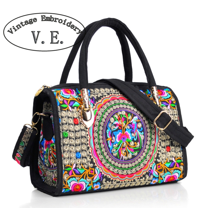 Vintage Embroidery Women Bag Canvas Flower Embroidered Women Handbag Boho Mandala Shoulder Messenger Bag For Women Girls