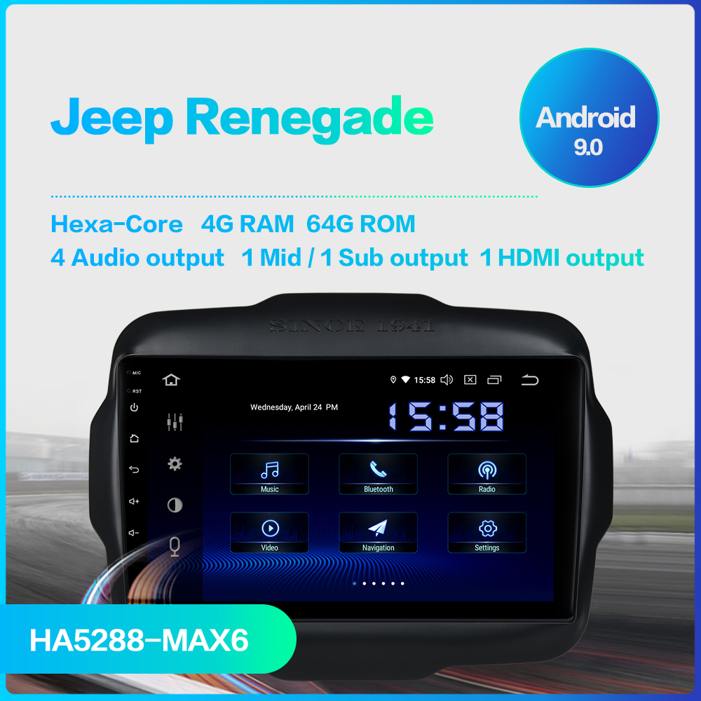 "Image 2 - Dasaita 9"" Android 9.0 Multi Touch Screen Car Radio for Jeep Renegade GPS 2016 2017 HDMI 2.5D IPS Touch Screen TDA7850 BluetoothCar Multimedia Player   -"