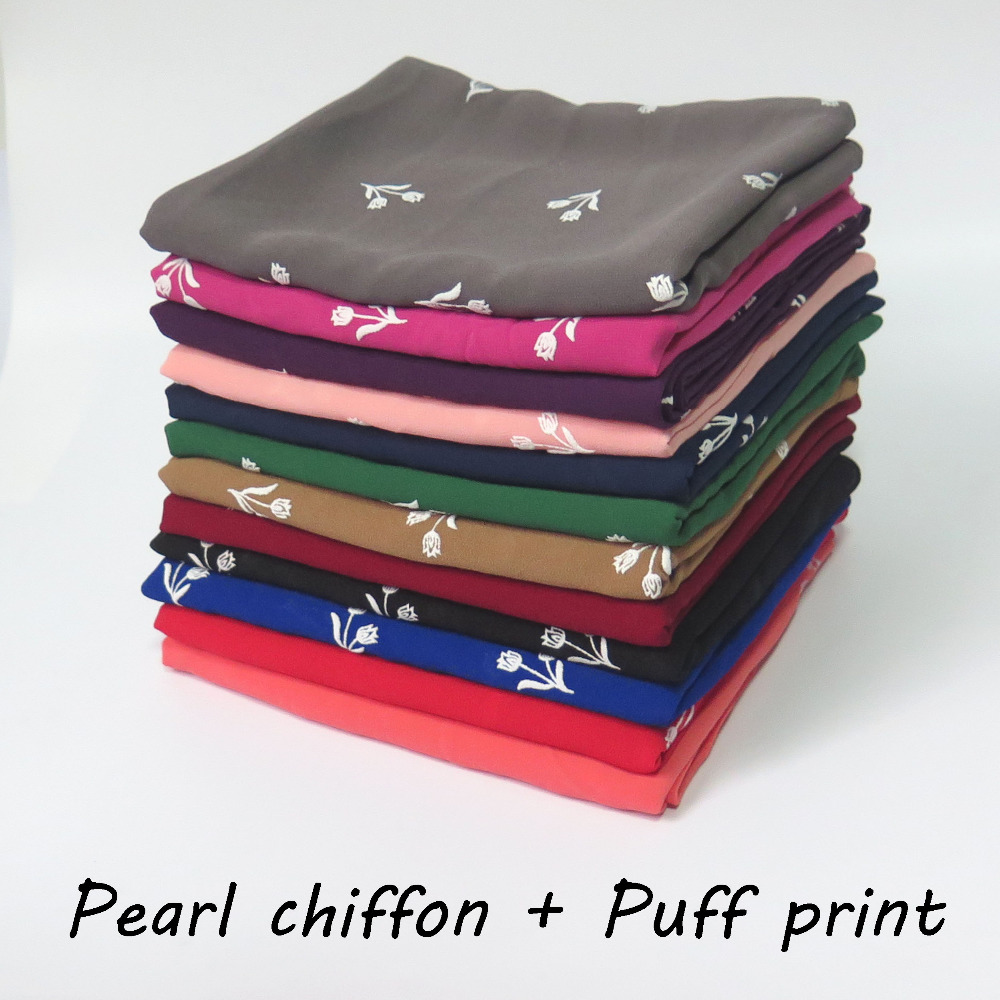 10pcs/lot Floral Puff Print Pearl Chiffon Hijab Scarf Shawl Muslim Head Wrap Headband Solid Plain Color