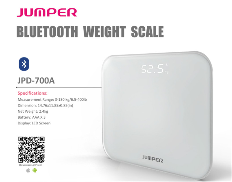 2018 New arrival Large LCD Display Bluetooth bathroom Scale JPD-700A Digital Weighting Scale for IOS and Andriod with free APP